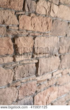 A Small Fragment With Details Of The Texture Of Clinker, Imitating The Masonry Of A Brick Wall Made