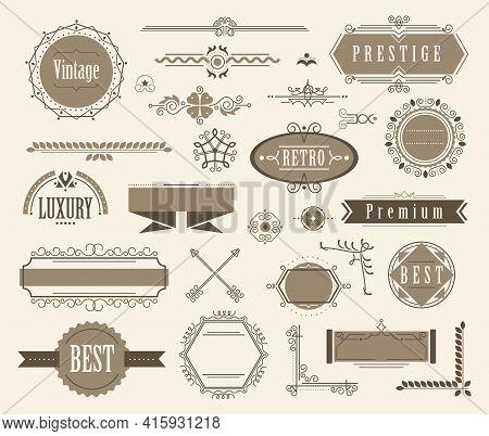 Set Of Ornamental Filigree Flourishes And Vintage Design Signs. Classical Vintage Elements, Vector I