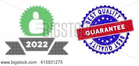 Dot Halftone 2022 Award Ribbon Icon, And Best Quality Guarantee Rough Stamp Print. Best Quality Guar