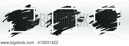 Square White Frame With Black Paint, Brush Paint Ink Stroke And Grunge Texture. Black Grunge Banner,