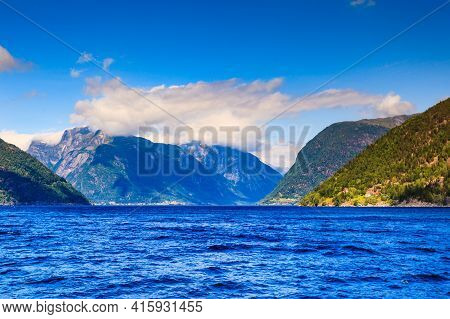 Mountains Landscape And Fjord Route Vangsnes-dragsvik In Norway, Scandinavia Europe. Sognefjord As S