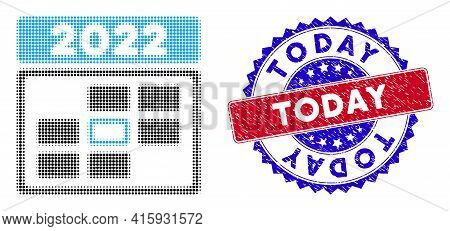 Pixelated Halftone 2022 Calendar Day Icon, And Today Grunge Watermark. Today Watermark Uses Bicolor
