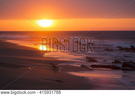 Ocean Sunset On The Beach And The Pacific Ocean In Punta Sal, Peru