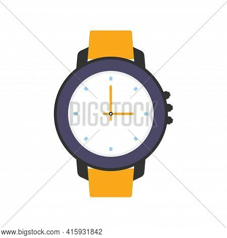 Water Proof Wrist Watch Isolated On White Background, Vector Illustration, Diving Watch