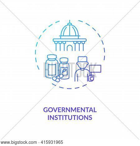 Governmental Institutions Concept Icon. Trials Sponsorship Idea Thin Line Illustration. Medicine Don