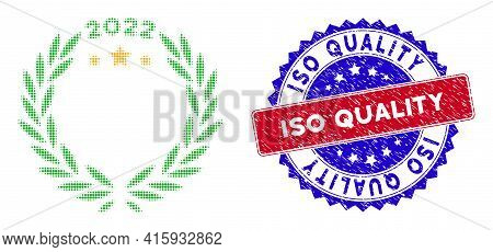 Pixelated Halftone 2022 Laurel Wreath Icon, And Iso Quality Grunge Watermark. Iso Quality Watermark