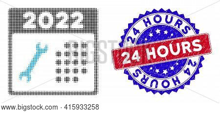 Pixel Halftone 2022 Repair Day Icon, And 24 Hours Grunge Seal. 24 Hours Stamp Seal Uses Bicolor Rose