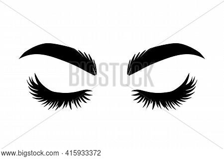 Brows And Lashes Vector Illustration. Beautiful Eyelashes. For Beauty Salon, Lash Extensions Maker,