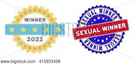 Dotted Halftone 2022 Winner Stamp Icon, And Sexual Winner Textured Stamp Imitation. Sexual Winner St
