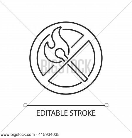 No Open Flame Linear Icon. Burning Match, Restriction Label. Sign For Forbidden Fire Safety. Thin Li