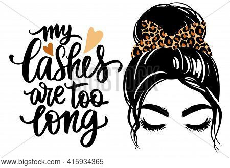 Messy Hair Bun With Leopard Bandana, Vector Woman Silhouette. Beautiful Girl Drawing Illustration An