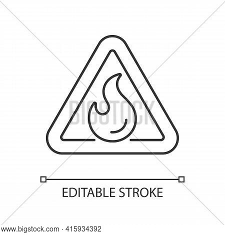 Flammable Linear Icon. Triangle Label For Hazardous Substance. Warning Sign. Fire Safety. Thin Line