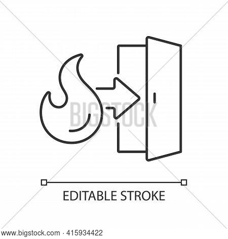 Emergency Exit Linear Icon. Evacuation Door. Arrow To Doorway. Instructions Label. Fire Safety. Thin