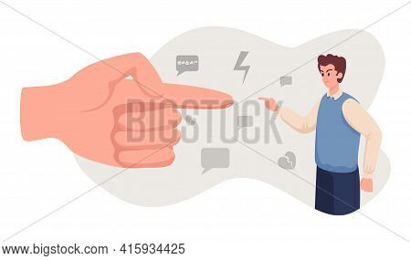 Angry Man Arguing With Big Hand Vector Flat Illustration. Emotional Abuse, Bullying, Harassment Conc