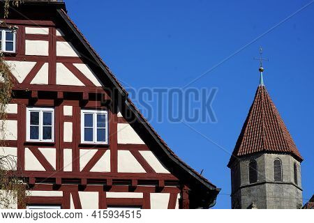 Old Rectory And Tower Of The Sankt Blasius Church In Nellingen. The Courtyard Of The Former Pobstei