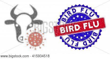 Dot Halftone Cow Coronavirus Icon, And Bird Flu Stamp Seal. Bird Flu Stamp Uses Bicolor Rosette Temp