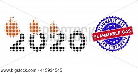 Dotted Halftone Fired 2020 Year Icon, And Flammable Gas Scratched Stamp Seal. Flammable Gas Stamp Se
