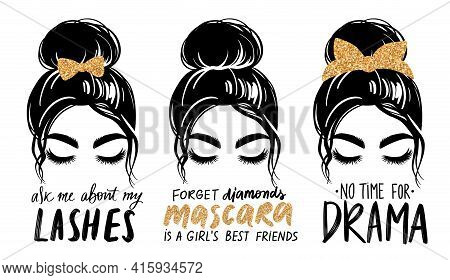 Messy Bun With Golden Glitter Bandana Or Headwrap And Hair Bow. Vector Woman Silhouette. Fashion Quo