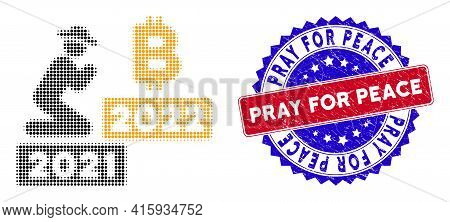 Dot Halftone Gentleman Pray Bitcoin 2022 Icon, And Pray For Peace Rough Stamp Print. Pray For Peace