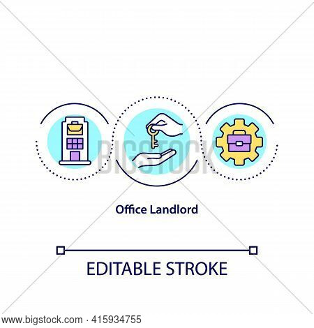 Office Landlord Concept Icon. Organization Spaces And Buildings Owner Idea Thin Line Illustration. R