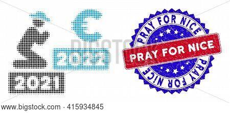 Dot Halftone Gentleman Pray Euro 2022 Icon, And Pray For Nice Rubber Stamp Seal. Pray For Nice Stamp