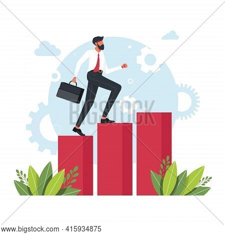 Office Workers, Managers, Successful Businessmen Running Up The Career Stairs. Business Goal Achieve