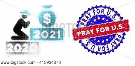 Pixelated Halftone Gentleman Pray For Money 2021 Icon, And Pray For U.s. Rubber Seal. Pray For U.s.