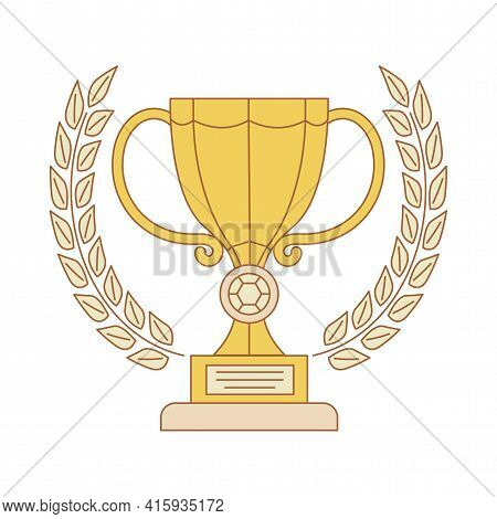 Golden Cup Trophy Vector Cartoon Outline Illustration Isolated On White Background. Yellow Cup Prize