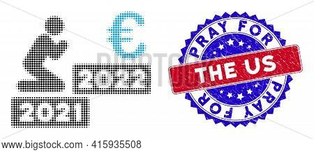 Pixel Halftone Man Pray Euro 2022 Icon, And Pray For The Us Textured Rubber Seal. Pray For The Us Se