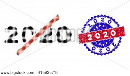 Pixelated Halftone No 2020 Year Icon, And 2020 Scratched Stamp. 2020 Stamp Uses Bicolor Rosette Temp
