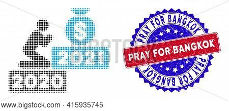 Pixelated Halftone Pray For Money 2021 Icon, And Pray For Bangkok Rubber Seal. Pray For Bangkok Stam