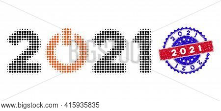 Dot Halftone Start 2021 Caption Icon, And 2021 Rough Stamp Seal. 2021 Seal Uses Bicolor Rosette Temp