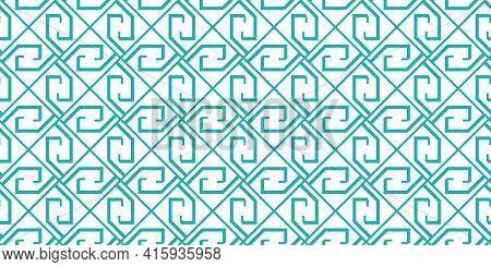 Greek Key Seamless Pattern, Vector Geometric Background, Green Meander Ornament, Roman Line Print. A