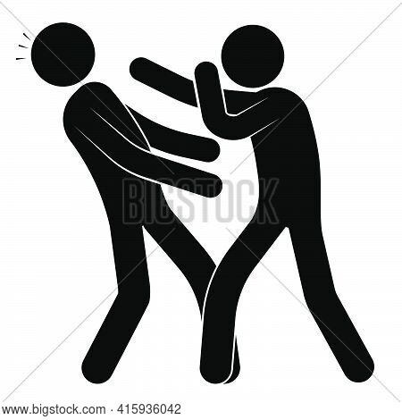 Stick Man, Boxer Beats Punch To Head Of Opponent, Sparring Partner. Knockout In Sports Boxing Match.