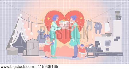 Donation For Needy Family - Modern Detailed Illustration