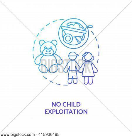 No Child Exploitation Dark Blue Gradient Concept Icon. Immigrant Children Abuse Prevention. Migrant