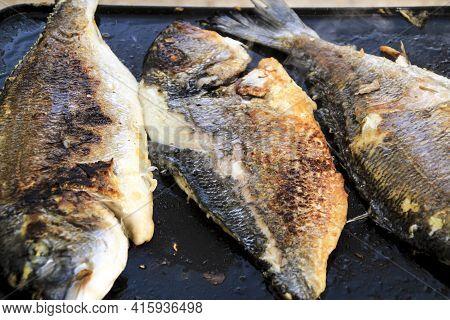 Grilling Tasty Gilt-head Bream (sparus Aurata) In Spain