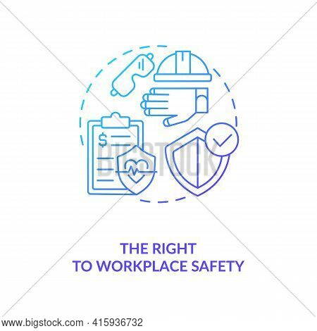 The Right To Workplace Safety Blue Gradient Concept Icon. Employee Health Insurance And Security. Mi