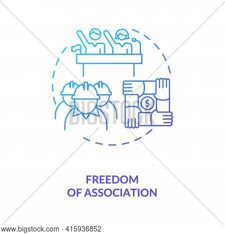 Freedom Of Association Dark Blue Gradient Concept Icon. Labour Union. Employees Teamwork. Migrant Wo
