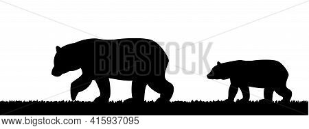 Silhouette Of A She-bear And A Bear Cub In The Grass.