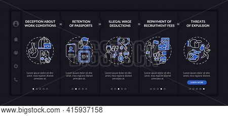 Migrant Workers Rights Abuse Onboarding Vector Template. Responsive Mobile Website With Icons. Web P