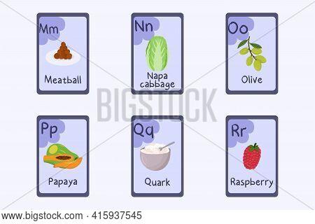 Colorful Alphabet Flashcard Letter M, N, O, P, Q, R - Meatball, Napa Cabbage, Olive, Papaya, Quark,