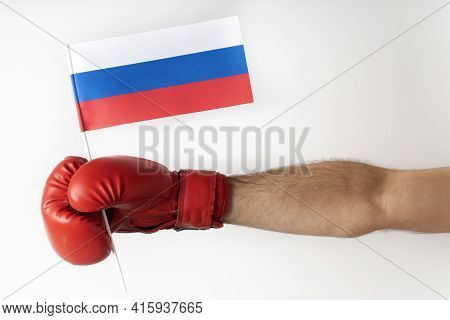 Boxing Glove With Russian Flag. Boxer Holds Flag Of Russian Federation. White Background.