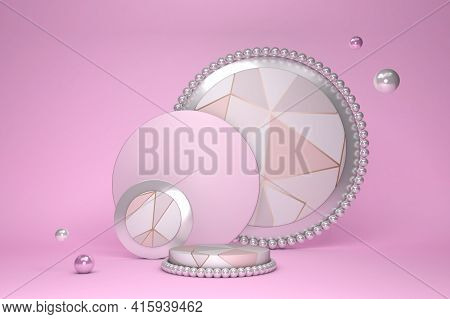 Abstract Minimal 3d Scene With Geometrical Forms And Triangle Pattern. Cylinder Podium Pink Pastel C