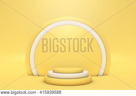 Abstract Minimal 3d Scene With Geometrical Forms. Cylinder Podiums Bright Yellow Color. Abstract Bac
