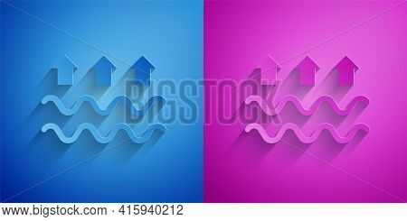 Paper Cut Waves Of Water And Evaporation Icon Isolated On Blue And Purple Background. Paper Art Styl