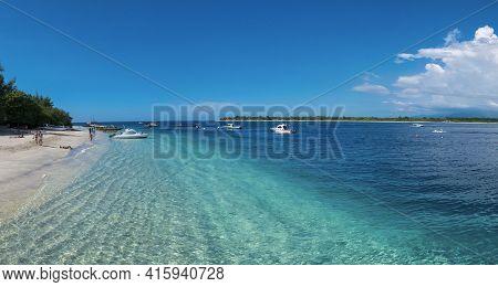 Trawangan Island, Indonsia, March 25: Panorama Of The Harbor Of Trawangan Island  With Moored Small