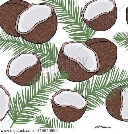Seamless Background With Coconuts And Palm Branches. Solid Repeating Pattern With Exotic Fruits. Tro