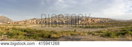 Panorama Of Sunset On Geological Rock Formations At Rodeo Near The Lake Of Wind (dique Del Viento) I