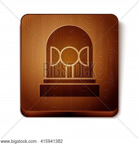 Brown Flasher Siren Icon Isolated On White Background. Emergency Flashing Siren. Wooden Square Butto